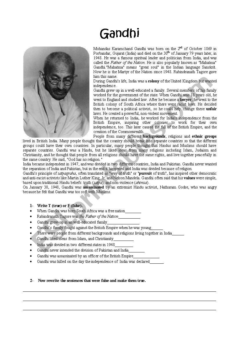 worksheet Gandhi Worksheet english worksheets gandhi worksheet