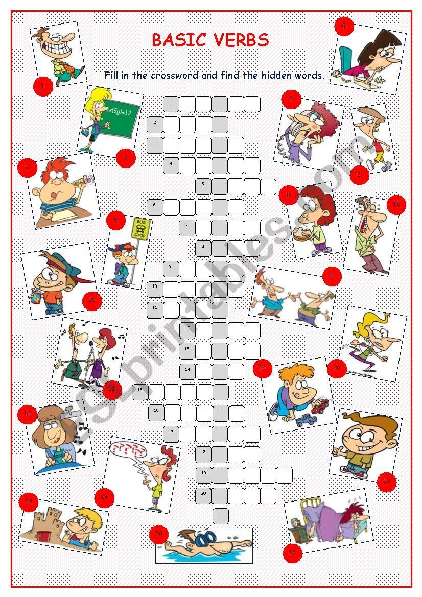 Basic Verbs Crossword Puzzle worksheet