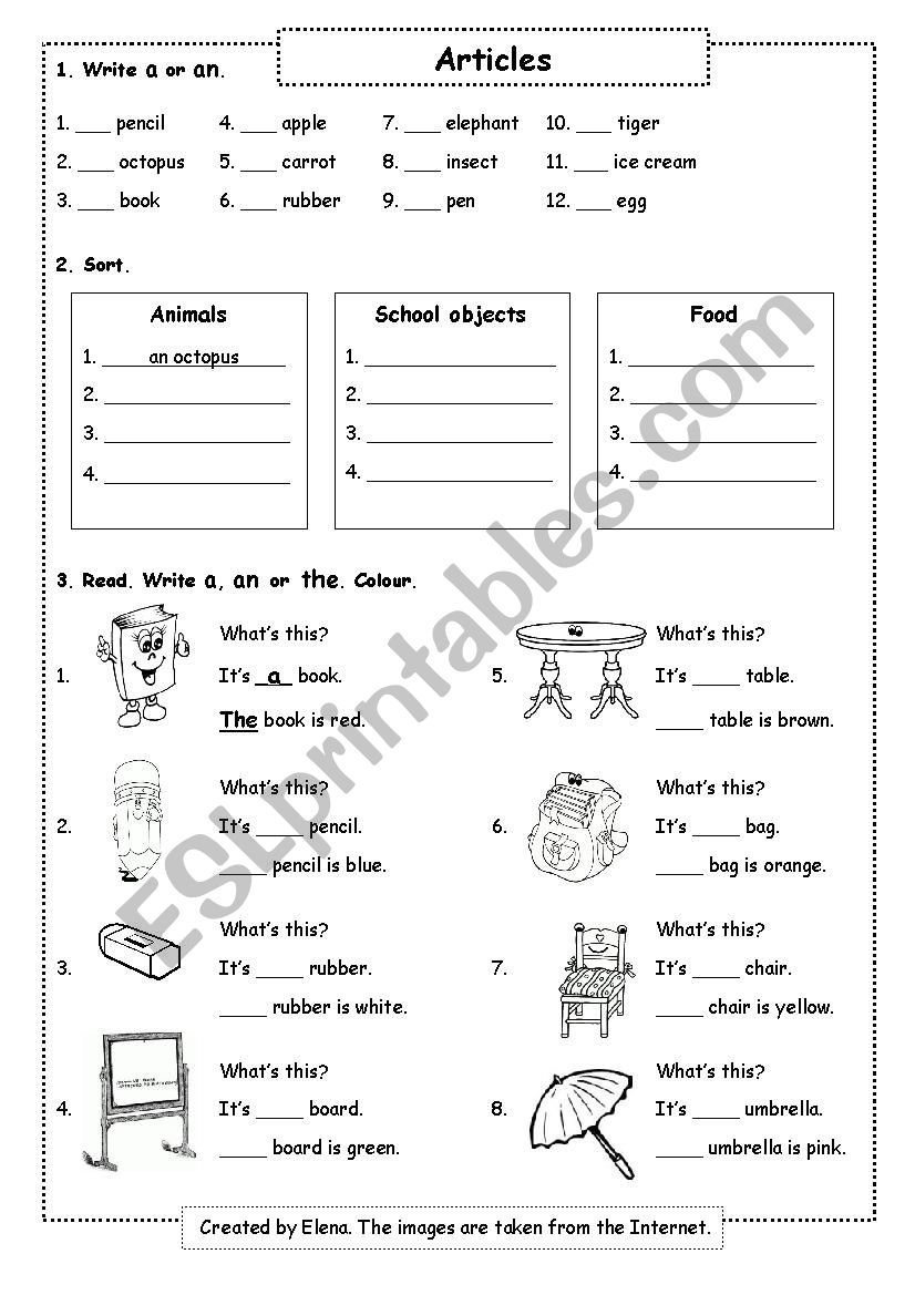 Article for young learners worksheet