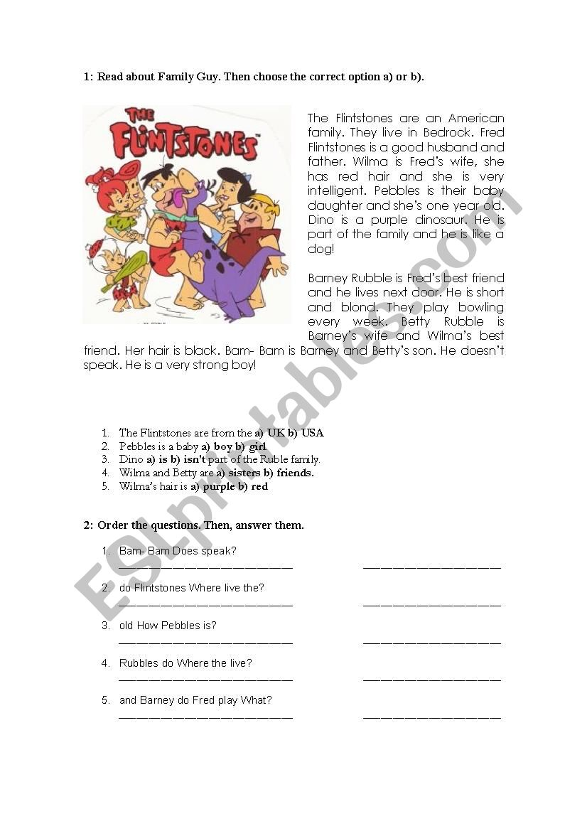 The Flintstones! worksheet