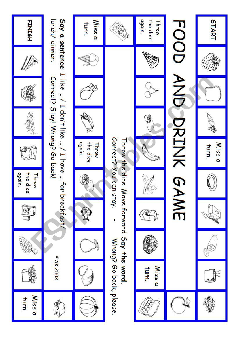 The Food And Drink Game worksheet