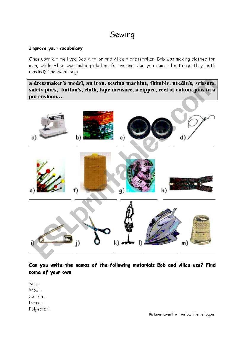 Marvelous Sewing Esl Worksheet By Boradona Wiring Digital Resources Talizslowmaporg