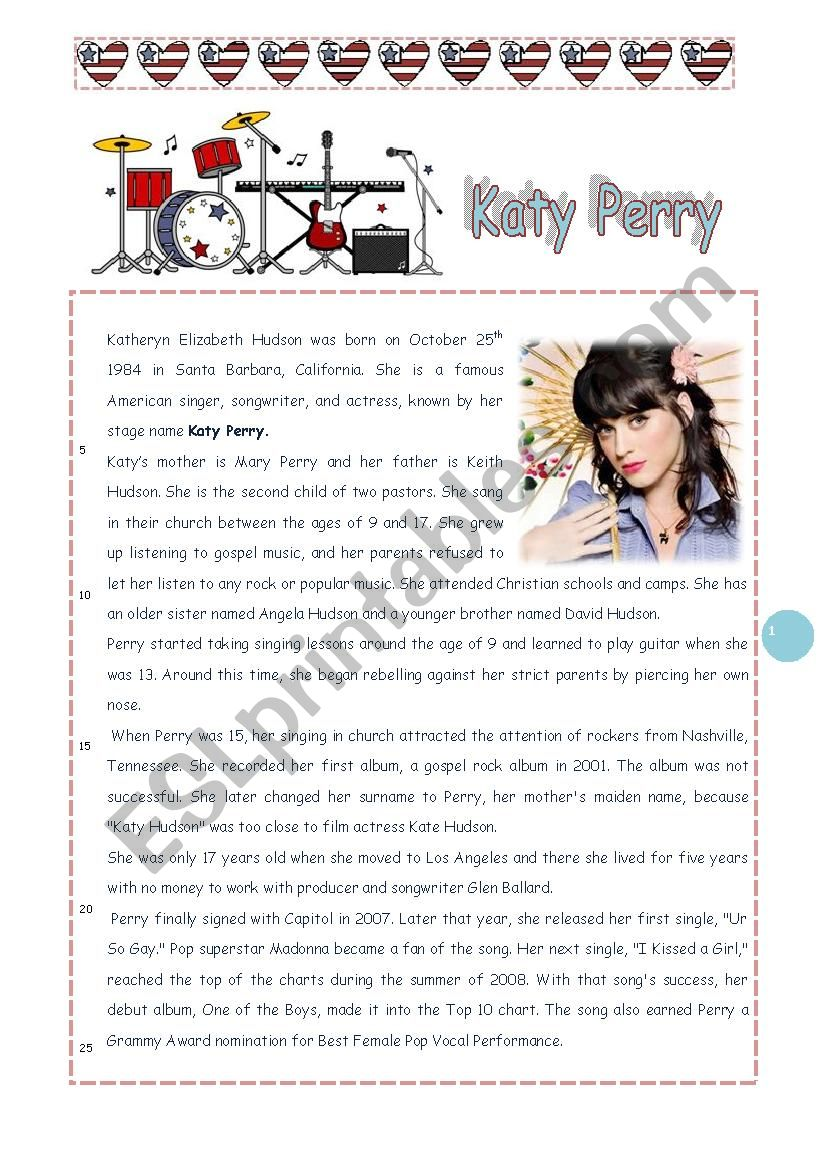 Katy Perry : reading comprehension