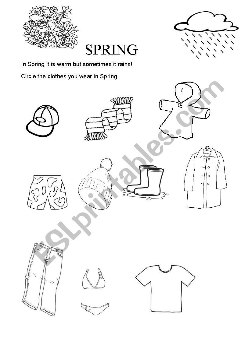 CLOTHES IN SPRING - ESL worksheet by rosari