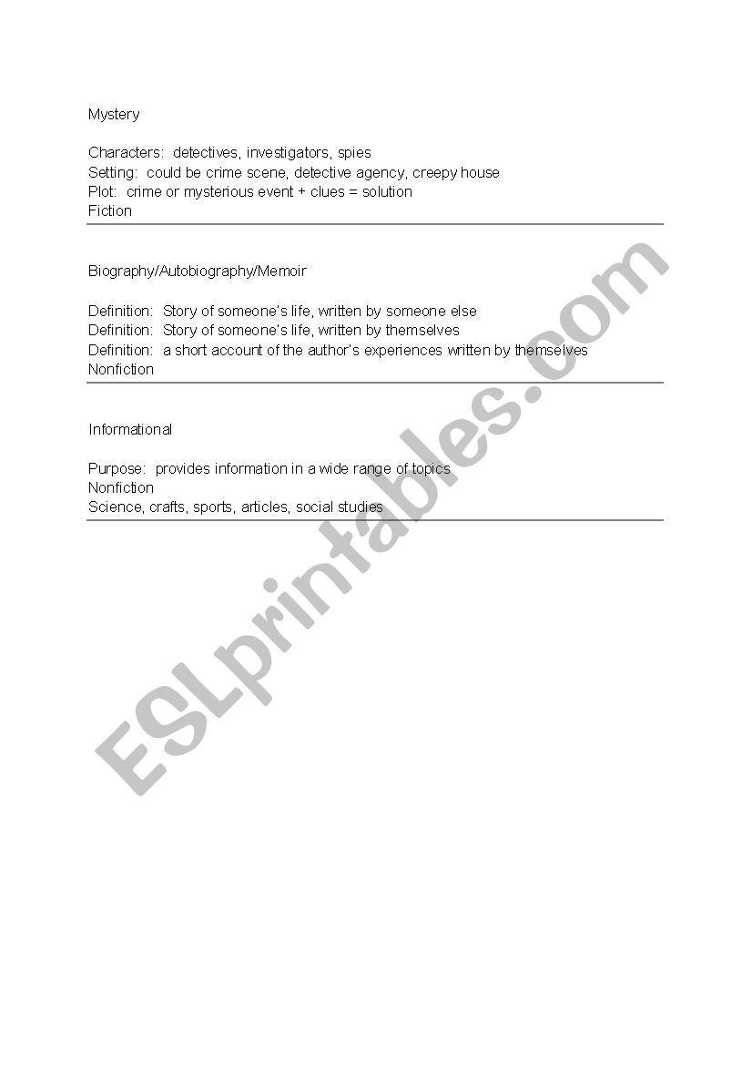 Characteristics of Genre - ESL worksheet by rbjoyner