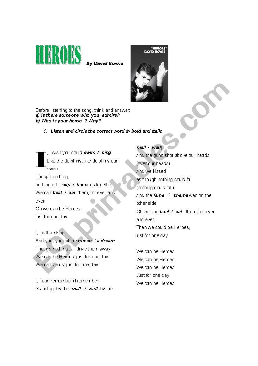 HEROES By David Bowie worksheet