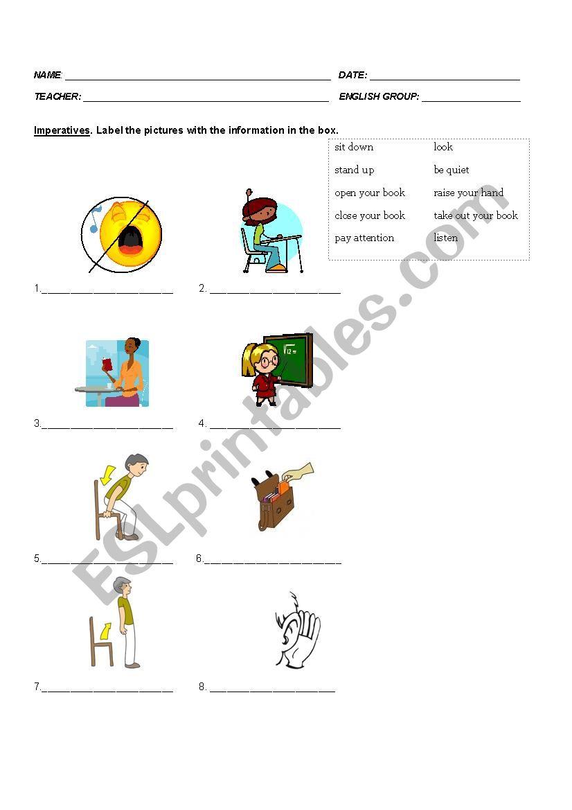 Imperatives worksheet