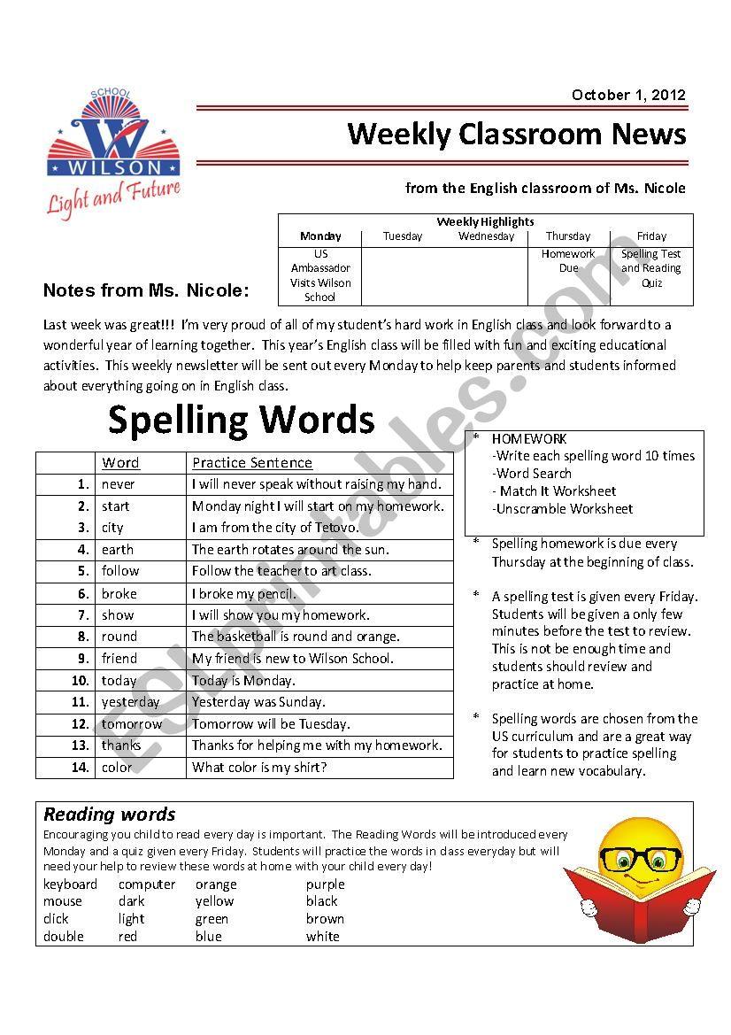 - Weekly Newsletter And Homework - Grade 4 - ESL Worksheet By Nicistout