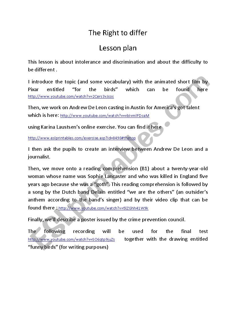 The Right To Differ worksheet