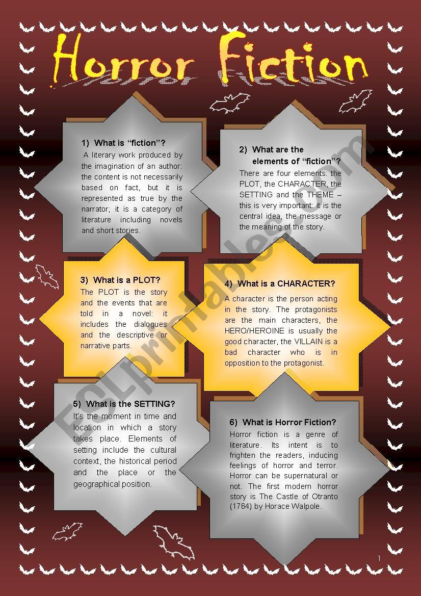 HORROR FICTION worksheet