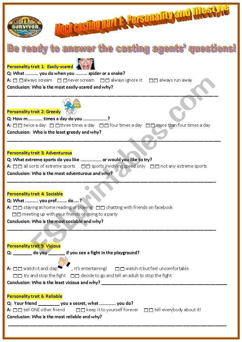Reality TV show Casting worksheet