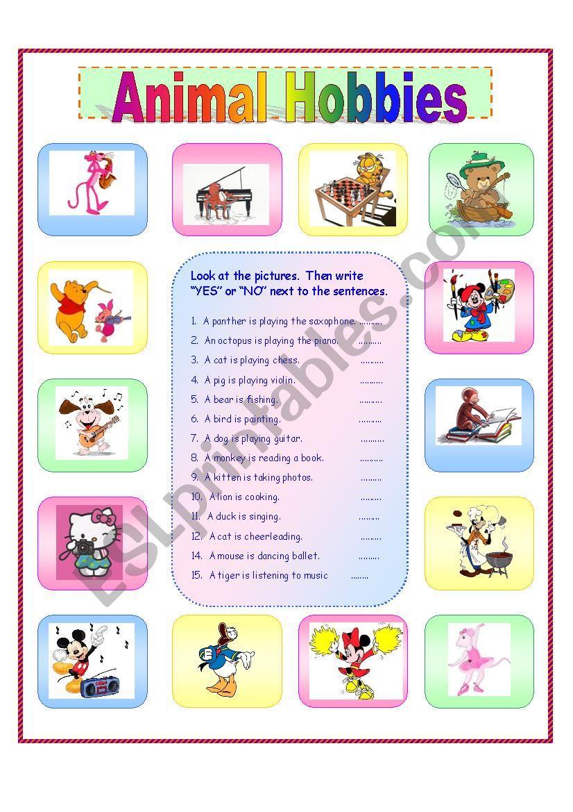 Animal Hobbies worksheet