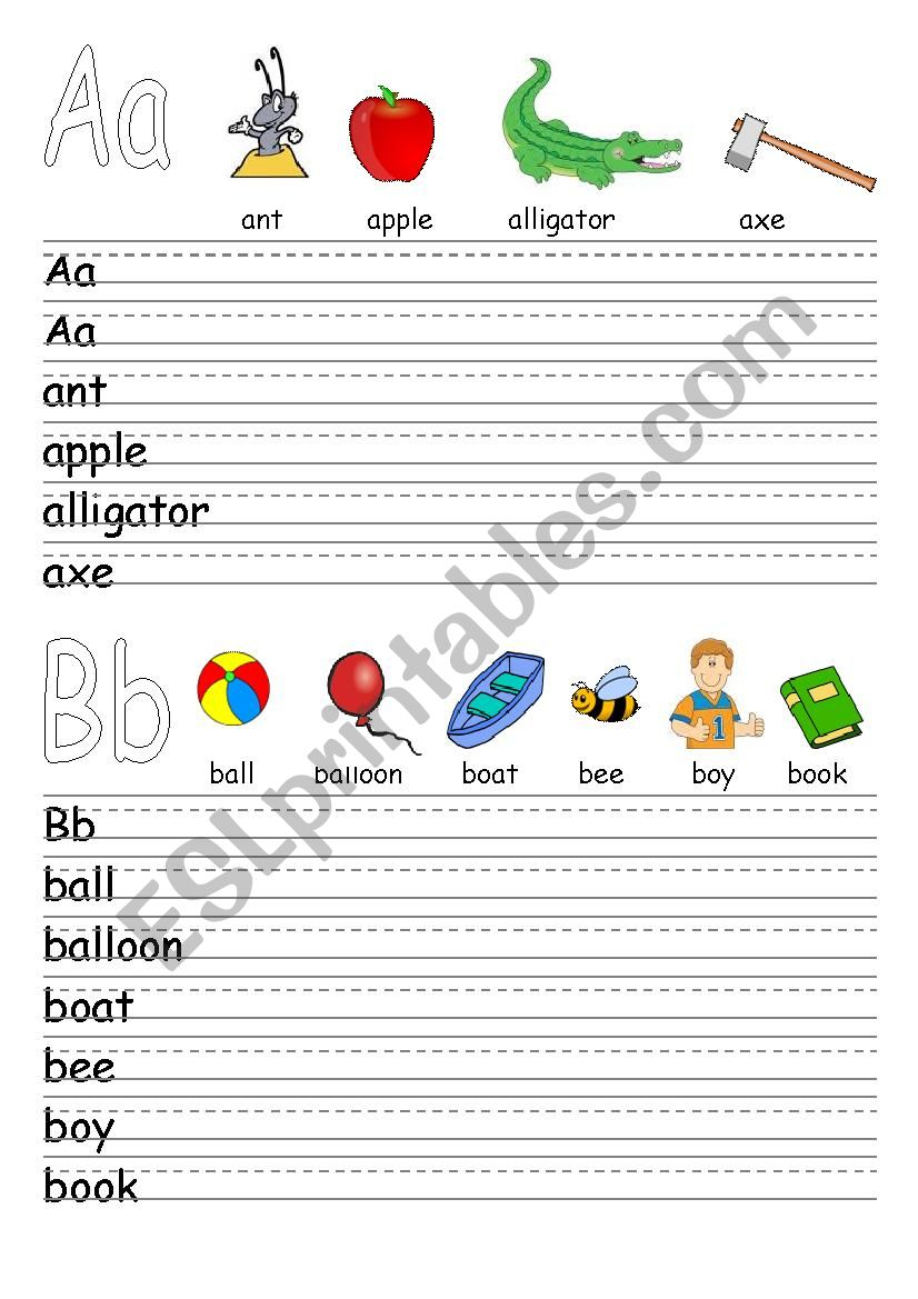 Alphabet revision: Letters A - L and words that begin with