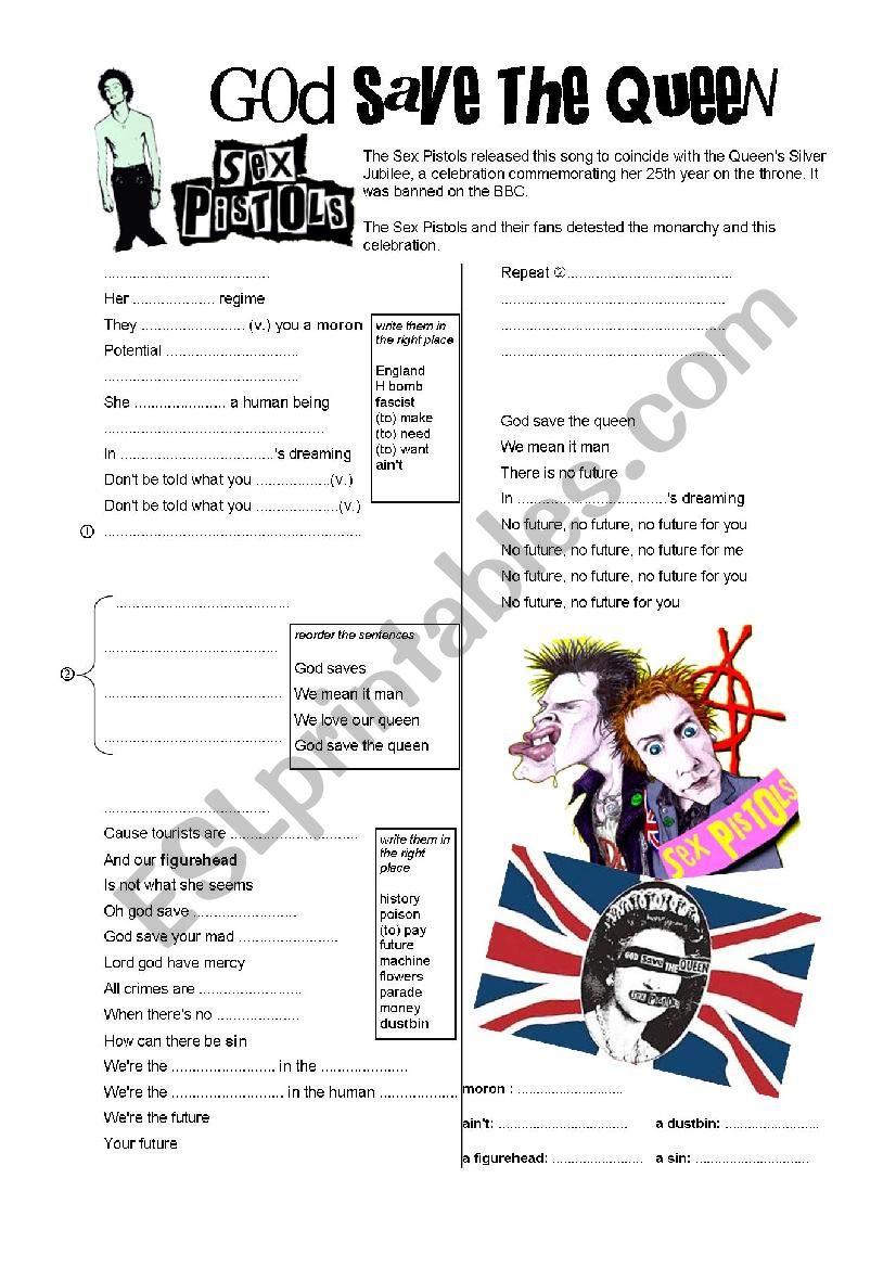 God save the Queen (Sex Pistols) - ESL worksheet by