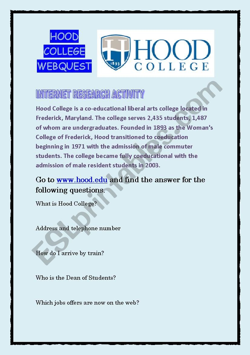 Internet research activity: Hood College