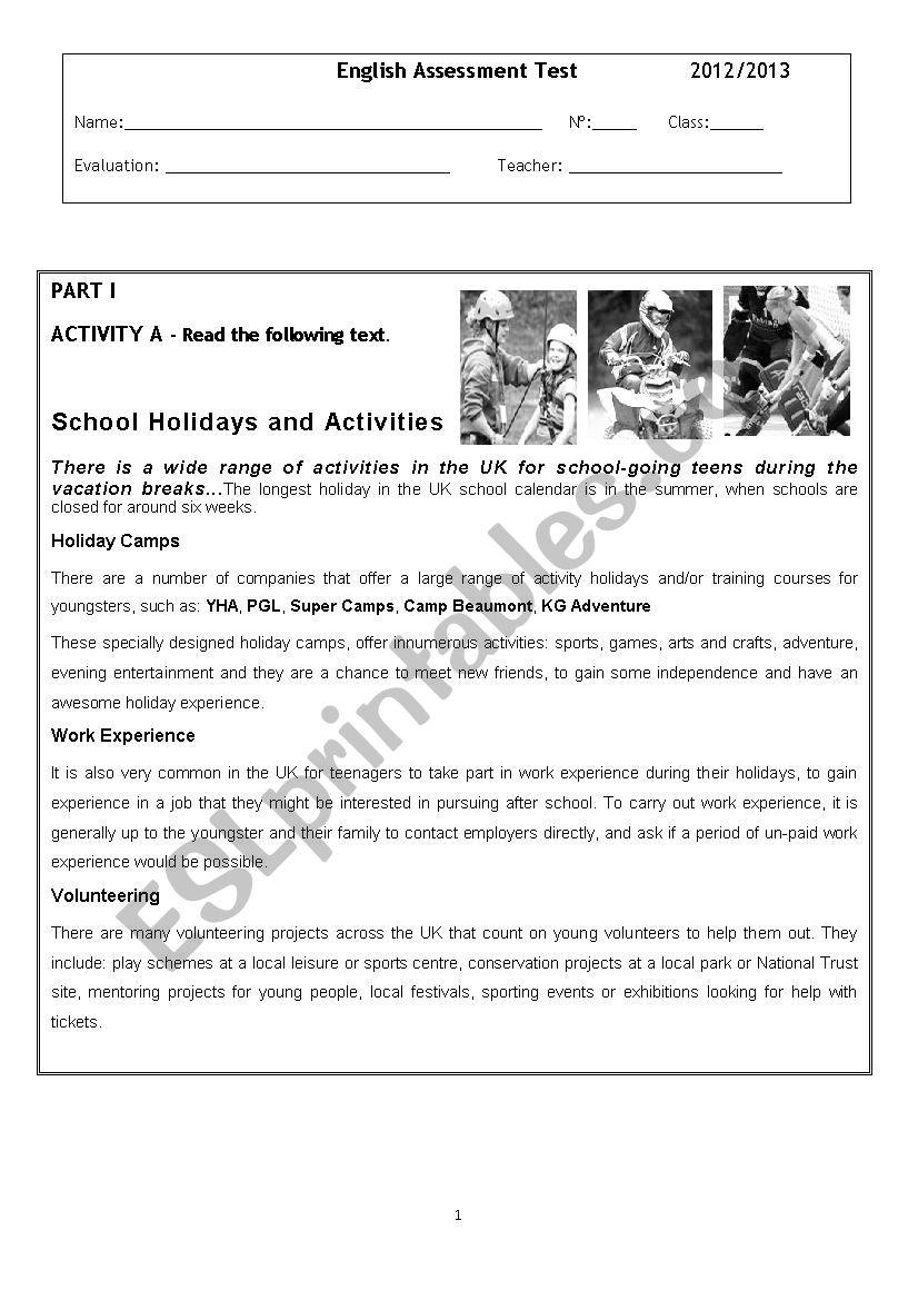 Summer Holidays - ESL worksheet by lidinhaquerida
