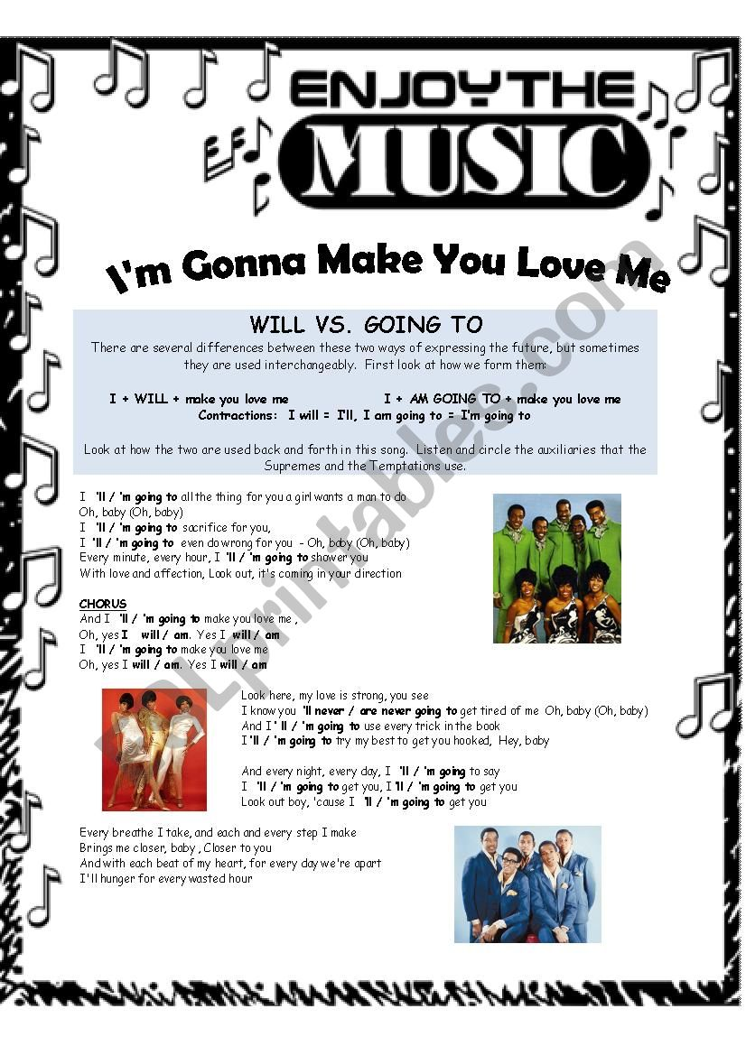 I´m Going to Make You Love Me worksheet