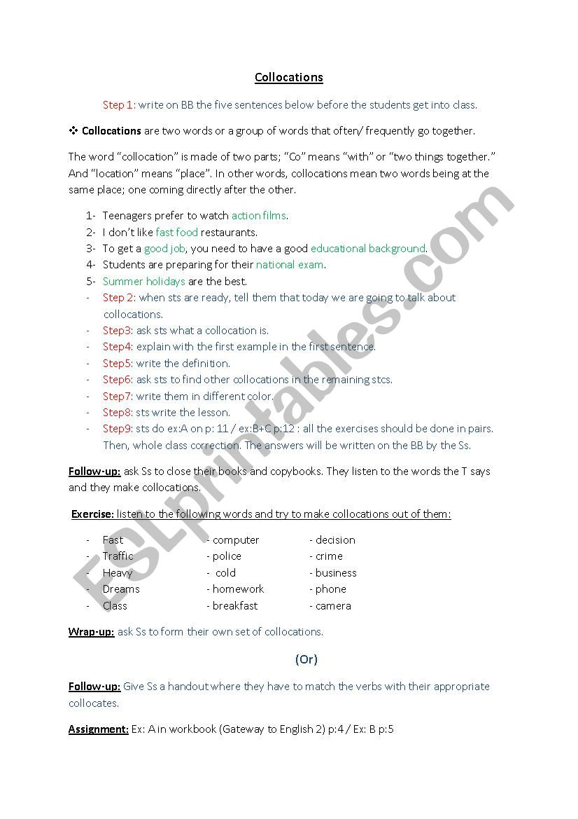 Collocations worksheet