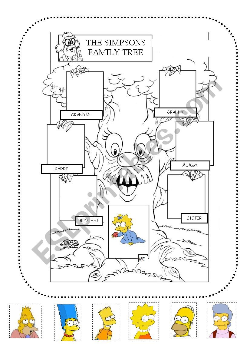 The simpsons family tree. Cut and paste the pictures.
