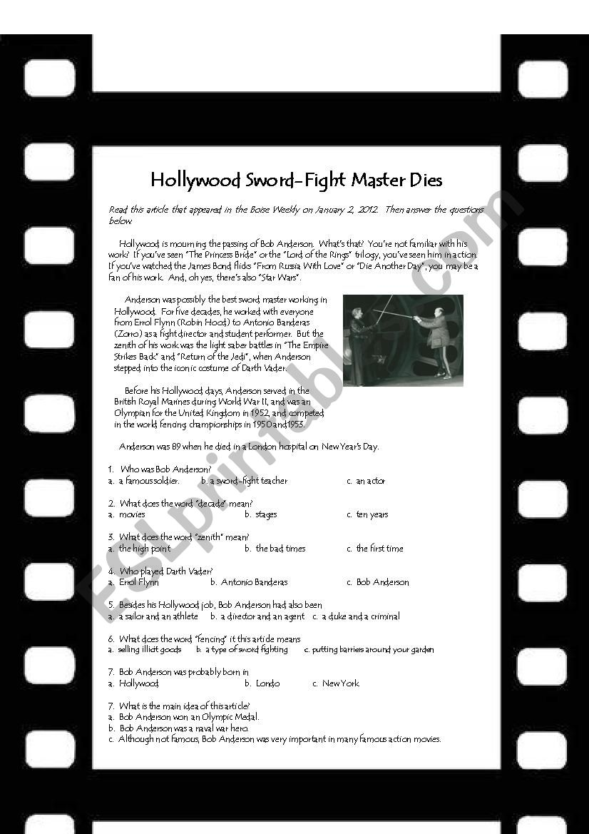 Hollywood swordfighting worksheet