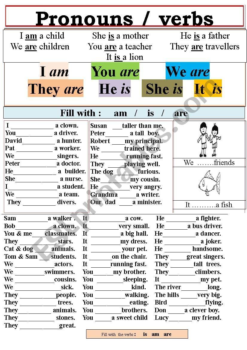 Pronouns and verbs worksheet