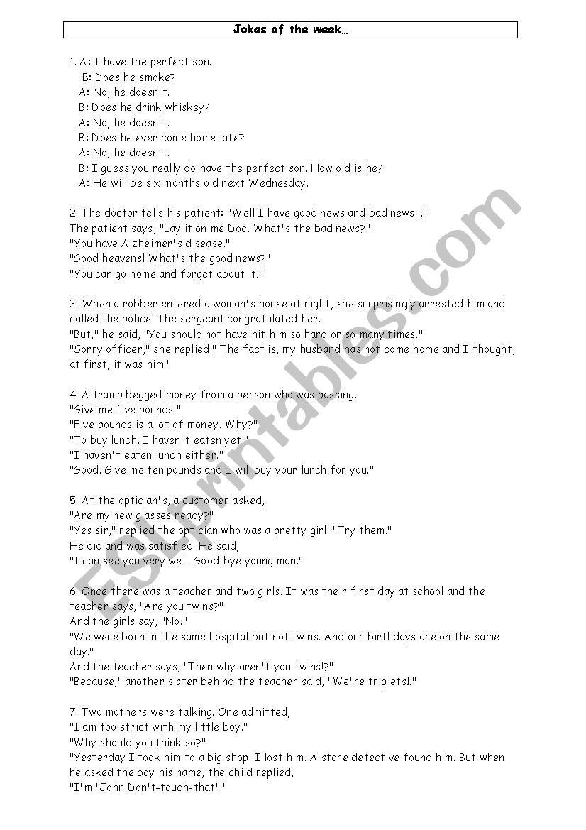 Jokes - ESL worksheet by Mela1104