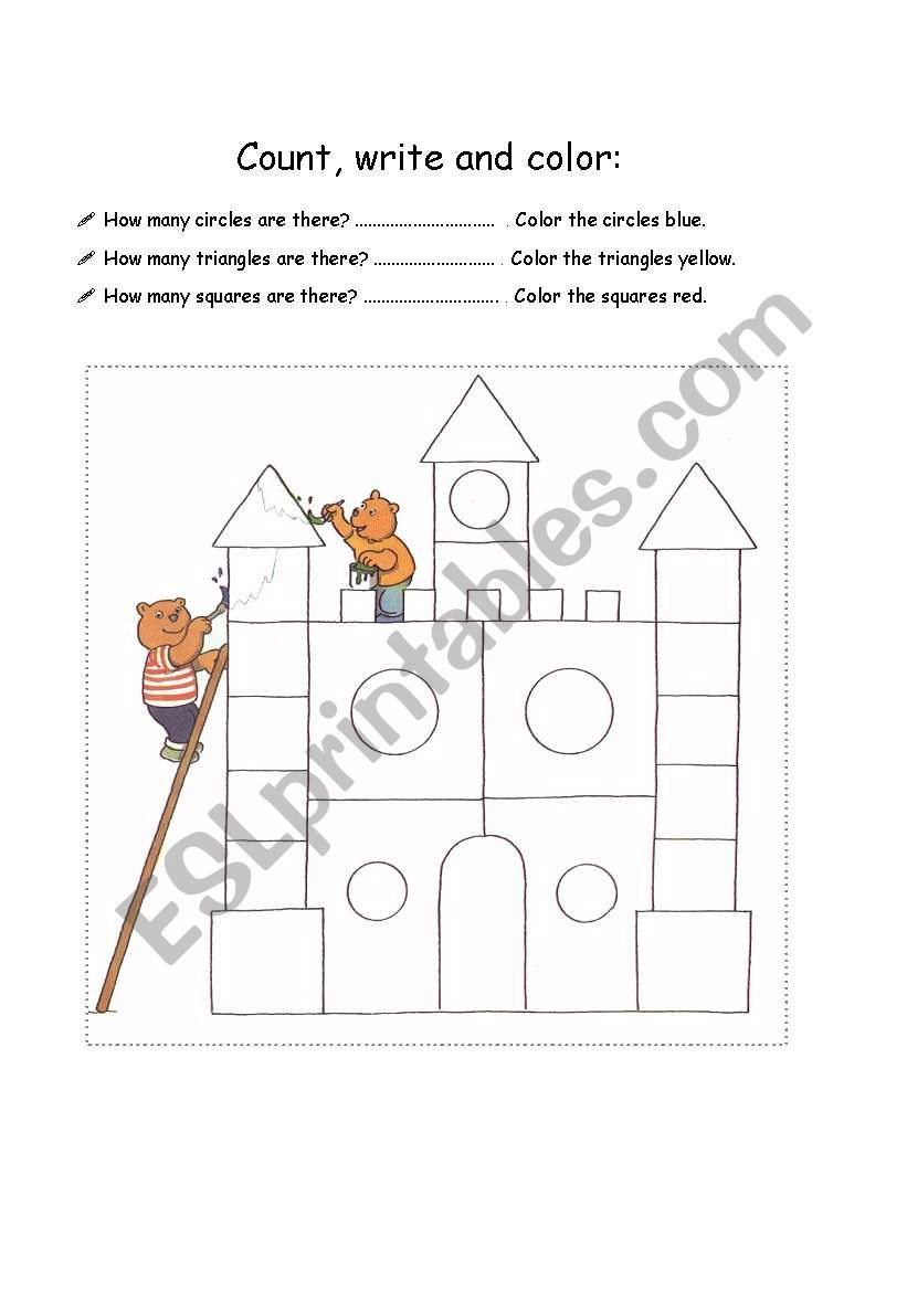 Count, write and color worksheet