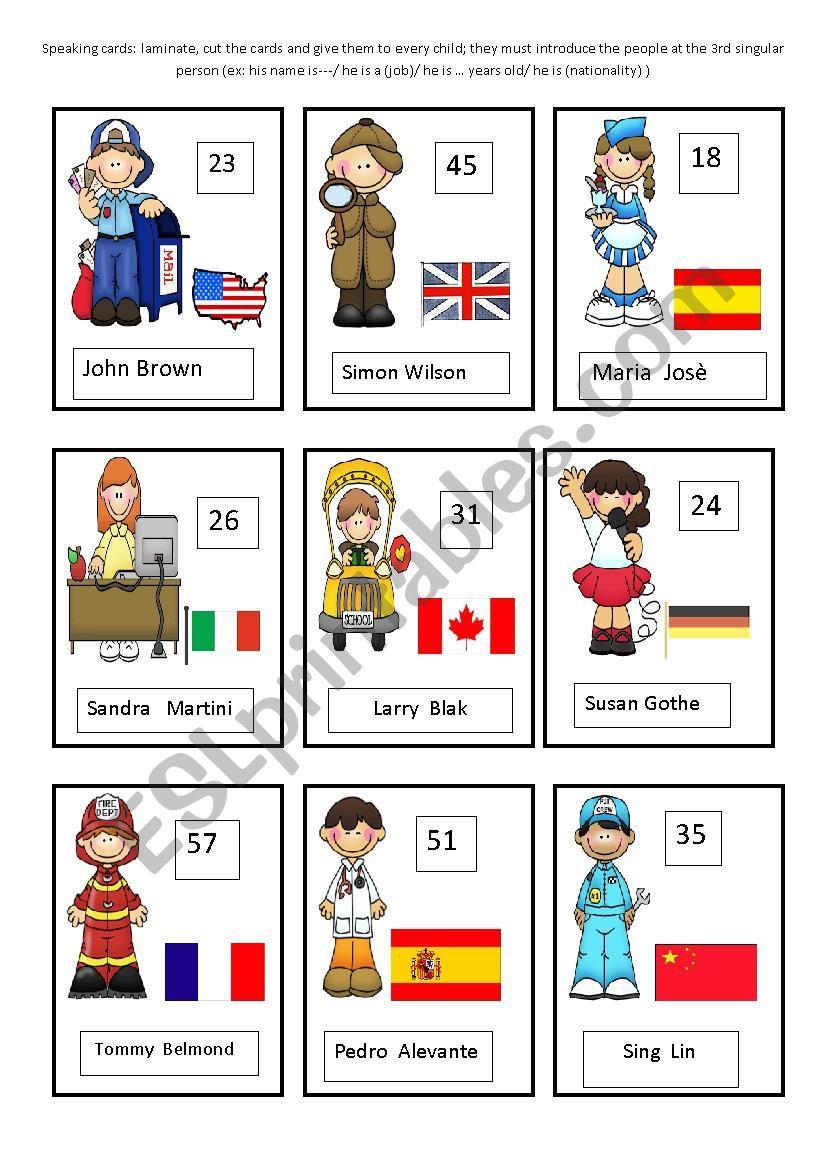 jobs speaking cards part 1 worksheet