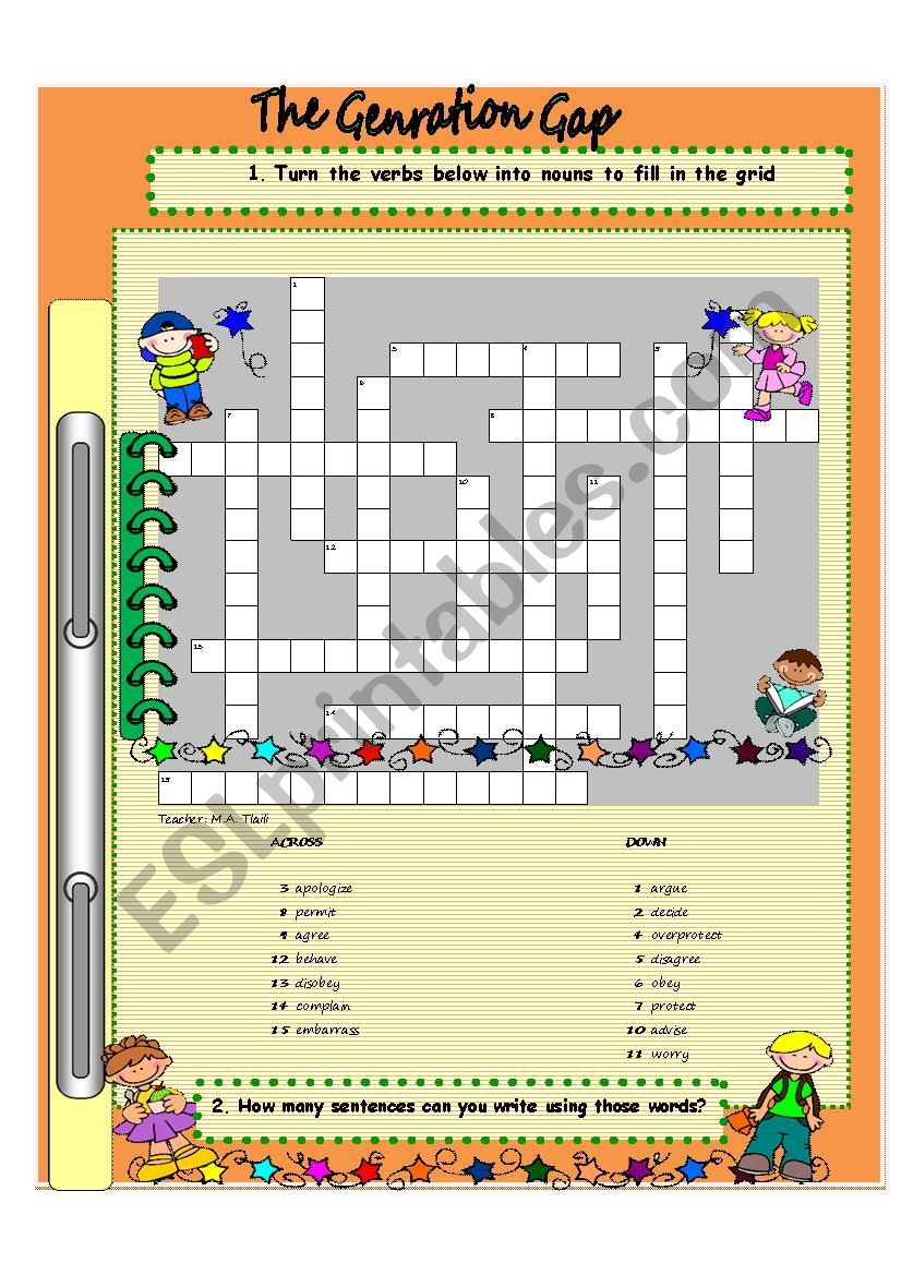 The Generation Gap / Word formation Game  with KEY