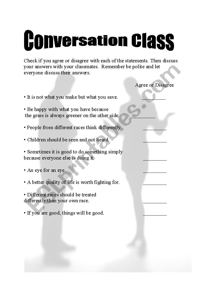 Conversation Class -Agree or disagree