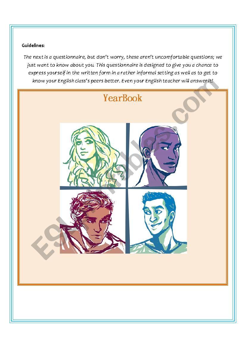 Yearbook, gossip book worksheet