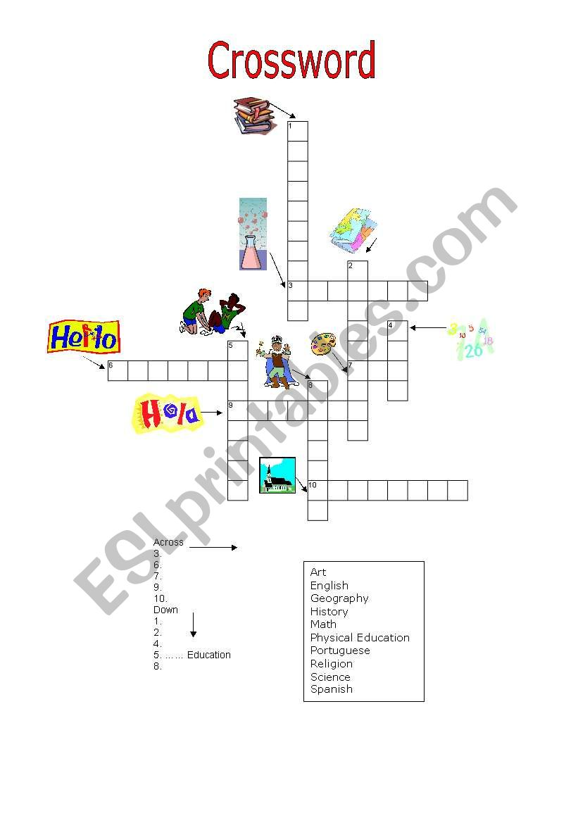 Puzzle: School subjects worksheet