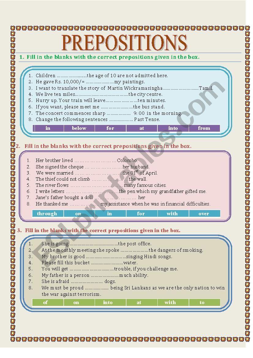 Activity on Preposition worksheet