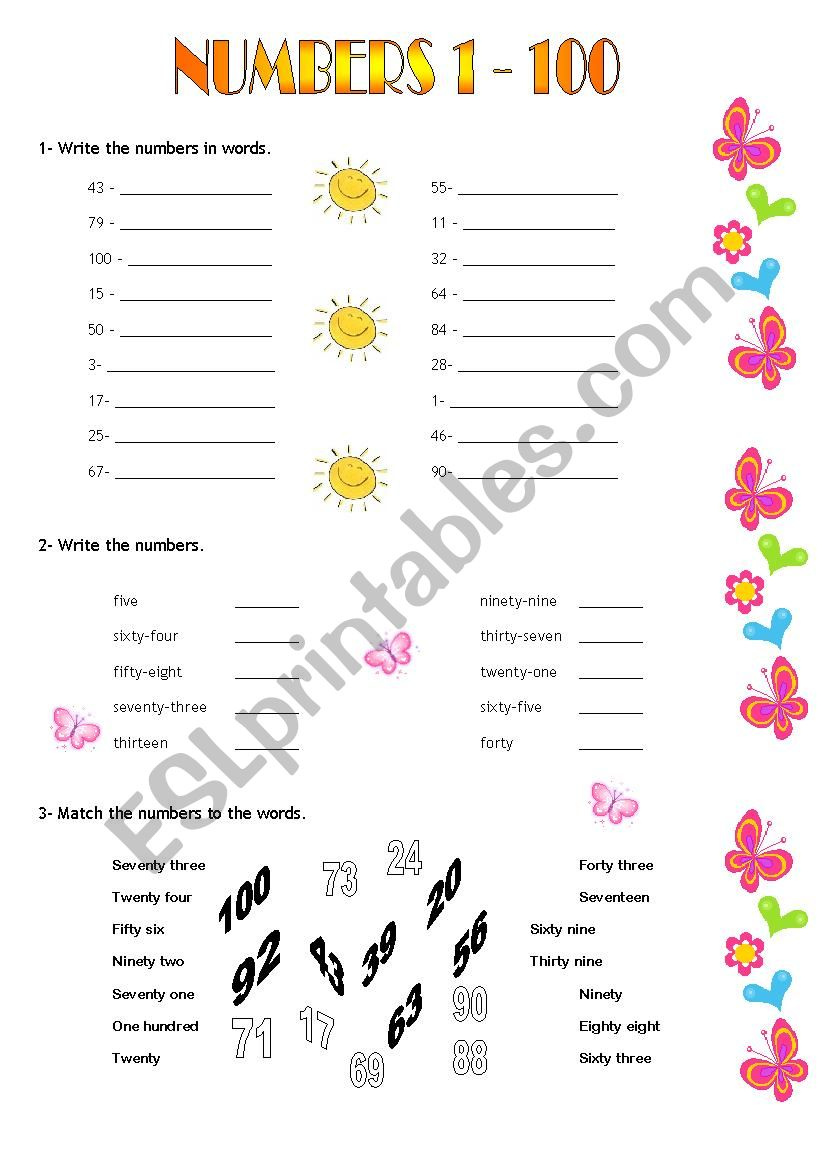 Numbers 1 - 100 worksheet