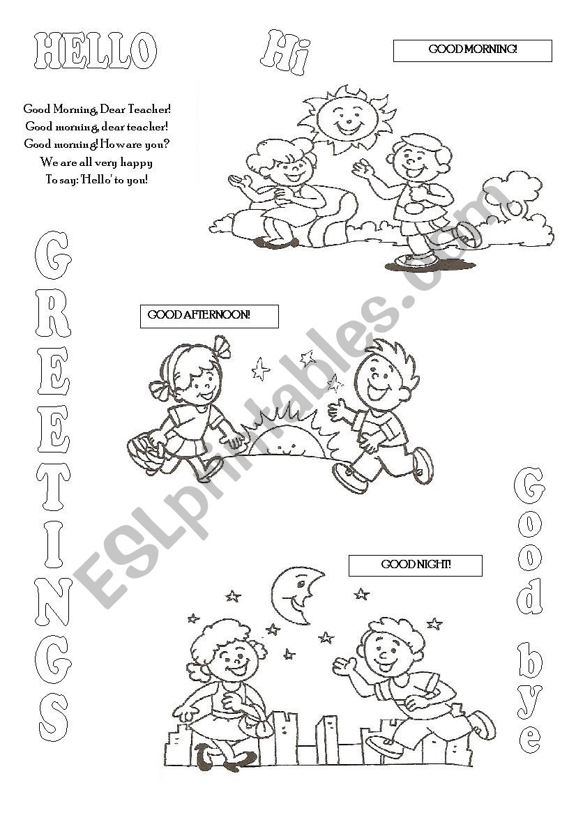 Greetings Esl Worksheet By Christofor