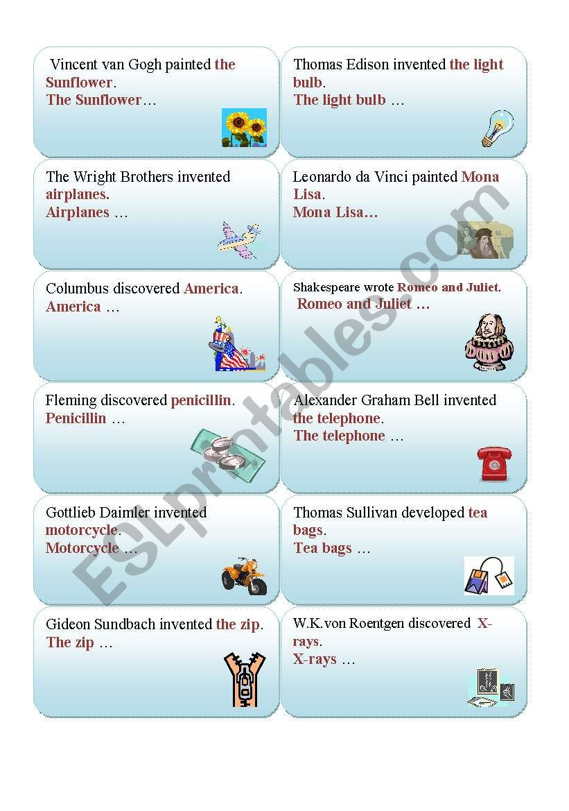 INVENTIONS, DISCOVERIES - active into passive voice