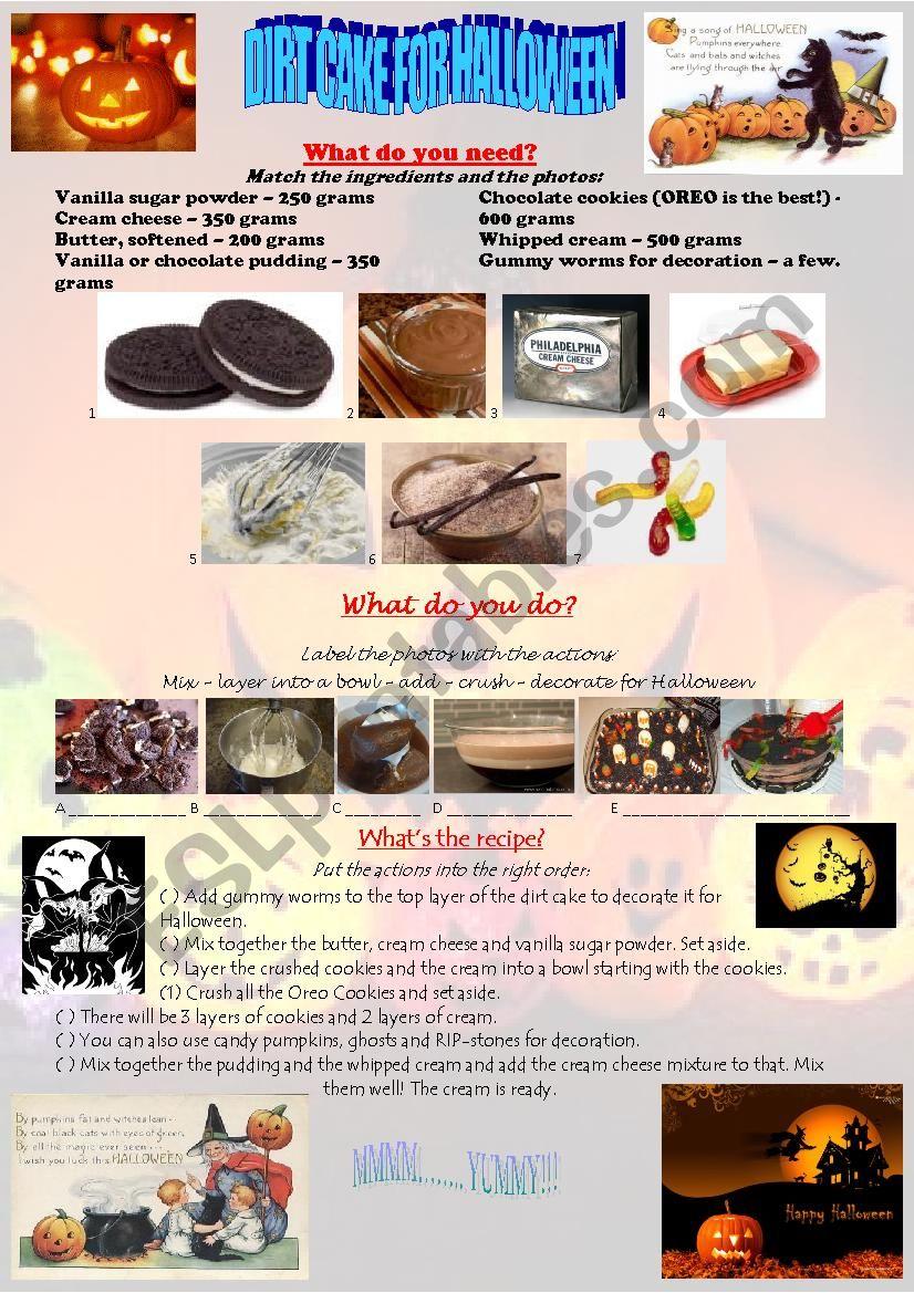HALLOWEEN DIRT CAKE worksheet