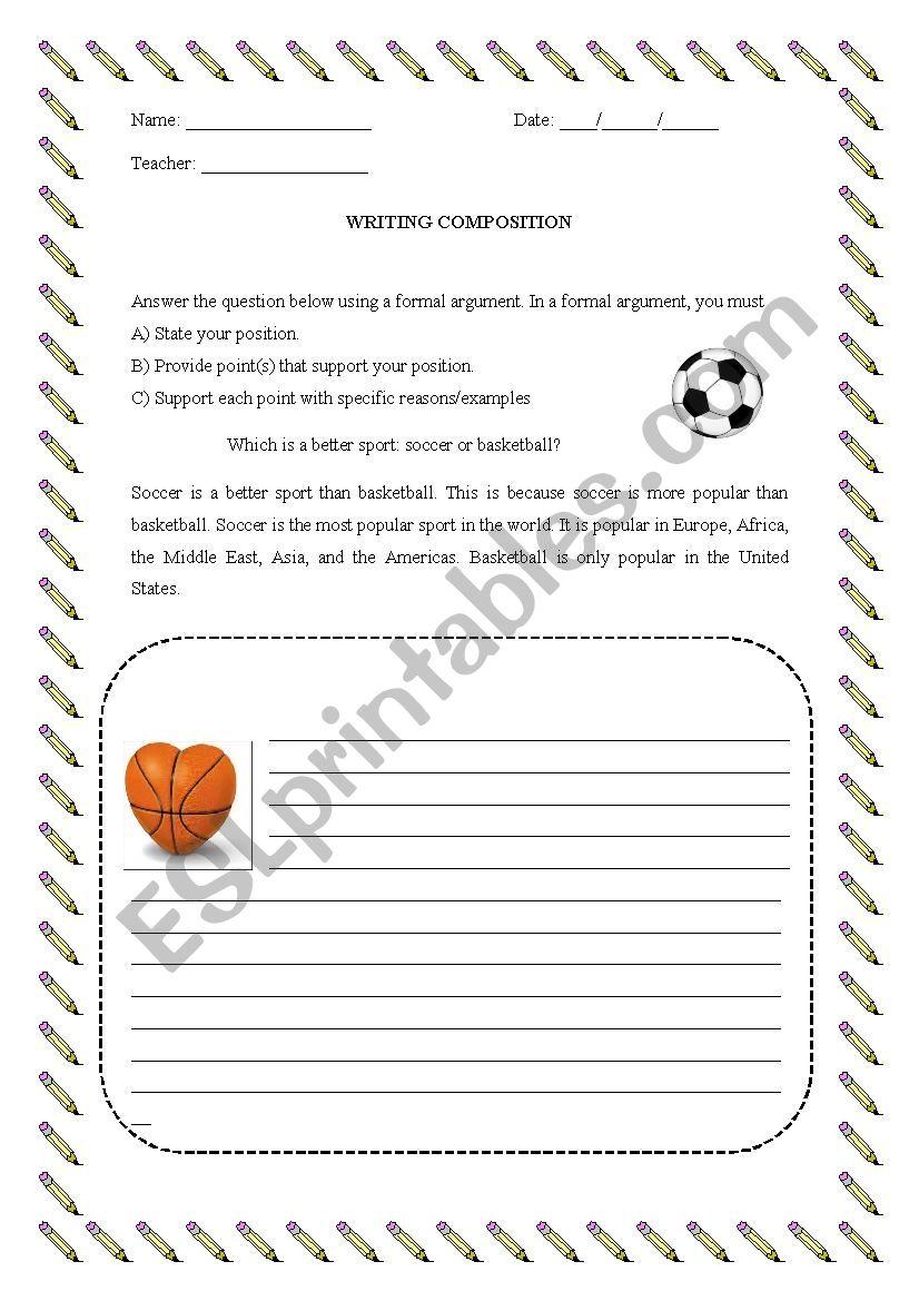 Writing Composition Esl Worksheet By Ricardo86