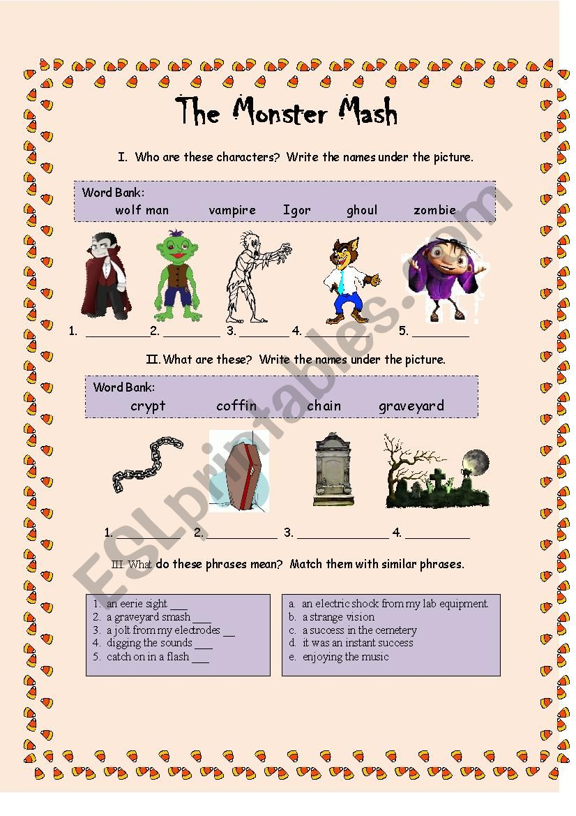 Monster Mash Part 1 Esl Worksheet By Estherlee76