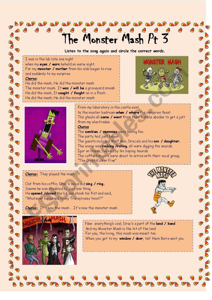 Monster Mash Part 3 worksheet