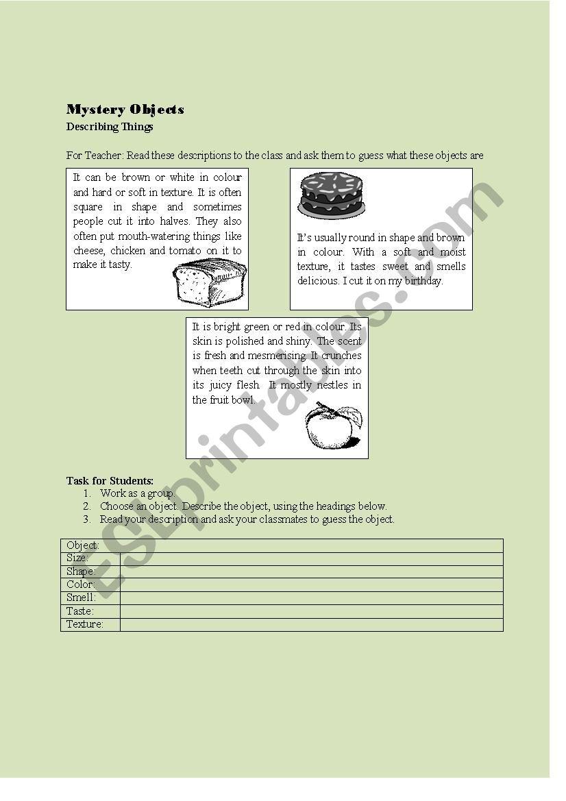 Describing Objects worksheet
