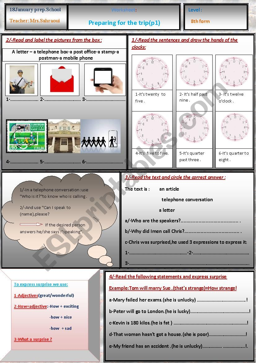 preparing for the trip part 1 worksheet