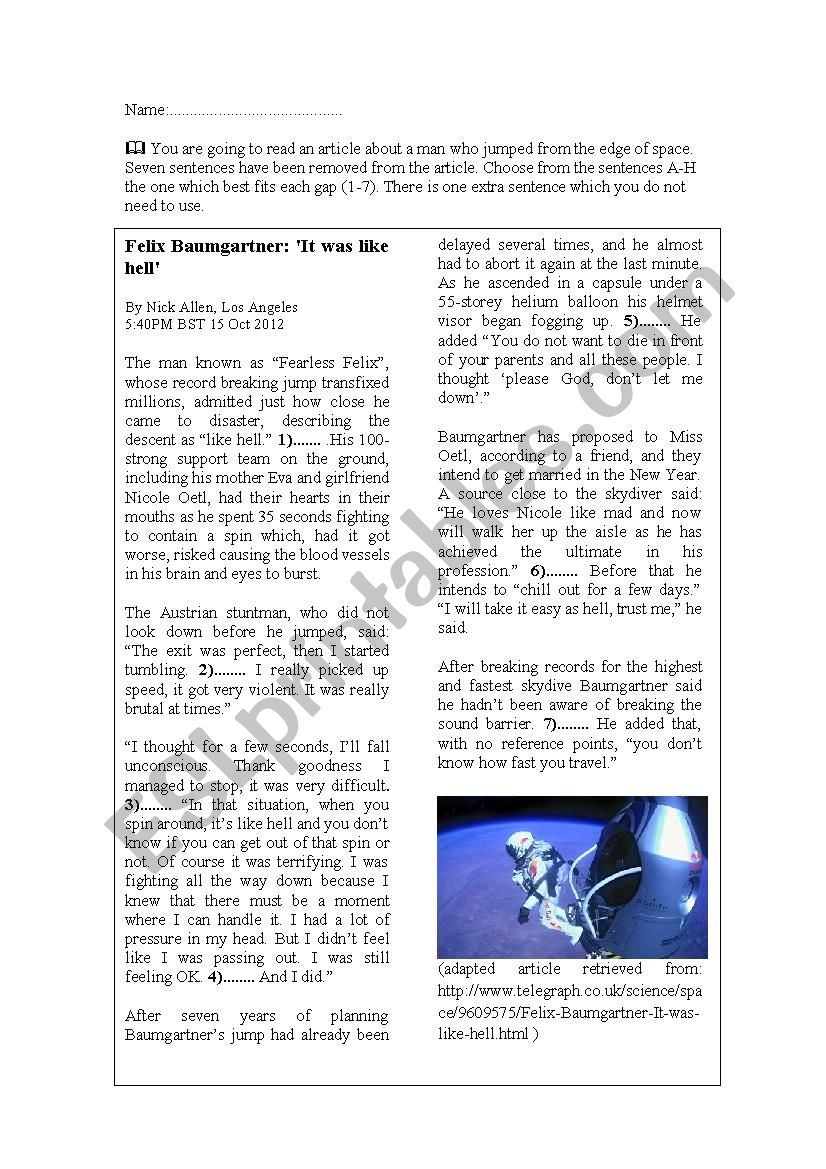 Felix Baumgartner- jump from the edge of space- reading comprehension- authentic material
