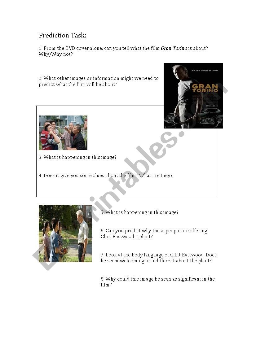 Gran Torino DVD cover Prediction Task