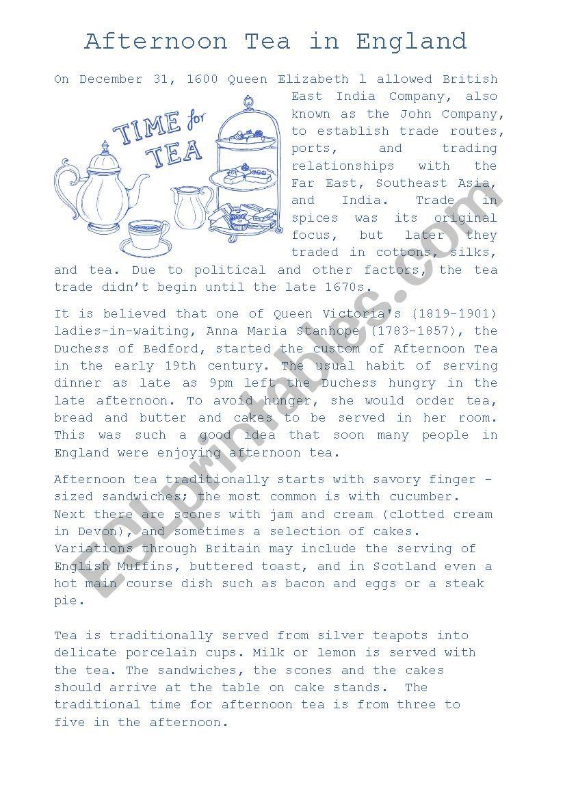 Afternoon Tea in England worksheet