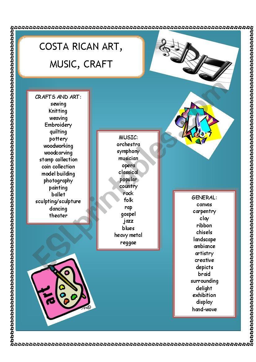 English worksheets: COSTA RICAN ART, MUSIC, CRAFT