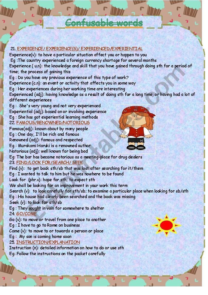 confusable words 3 worksheet