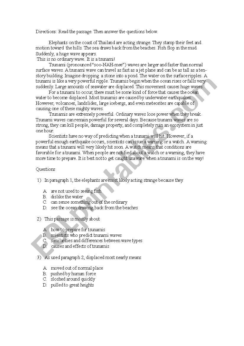 - Reading Comprehension - Level 4/5 - ESL Worksheet By Bayrat