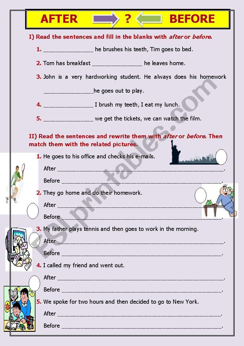 AFTER-BEFORE worksheet