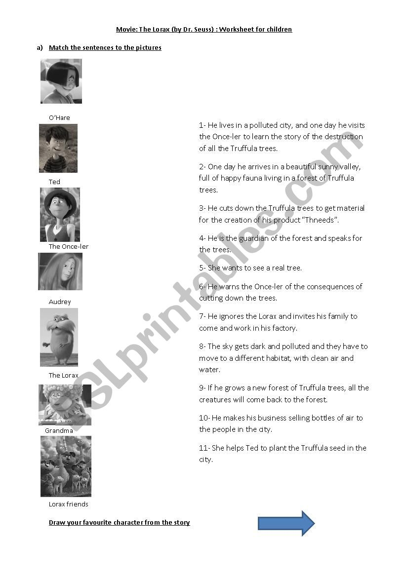The Lorax Esl Worksheet By Mariasoledadfranco
